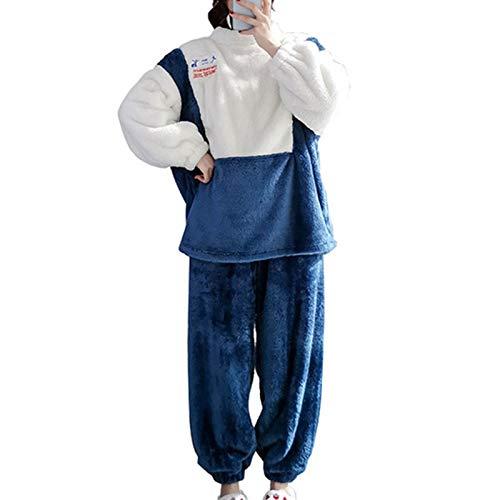 Damen Flanell Pyjama Set Spleißen Plus Kaschmir Verdicken Lose Heimanzug