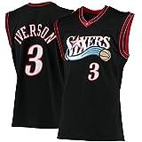 WEIZI # 3 Allen Iverson 10th Anniversary Swingman Jersey Philadelphia 76ers 2000-01 Retro Basketball Jersey Chaleco Bordado Black-L