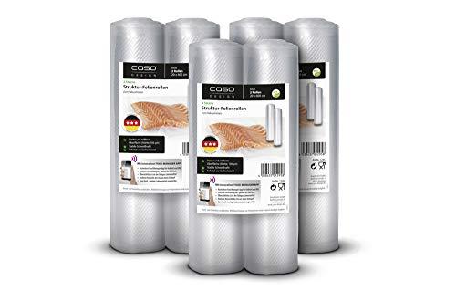 CASO 3 Sterne Strukturfolien Set 6x Folienrolle 20x600cm, 105µm, für Vakuumierer / Folienschweißgeräte, BPA-frei, sehr stark, reißfest, kochfest, 1298