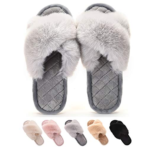 Gainsera Pantofole Peluche Donna Invernali Pantofole Pelliccia Comode Morbido Antiscivolo Ciabatte da Casa,a Grigio 38-39 EU