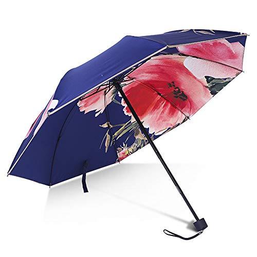 CNAJOI-TDFY Sonnenschirm Sonnenschirm Für Frauen UV-Schutz Dreifach Faltbare Regenschirme Bedruckte Blumen 8 Knochen Sonnenschirme (blau)