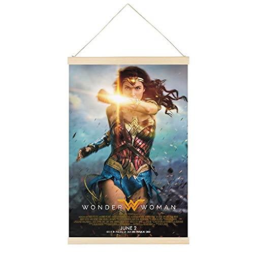 Póster de la película Wonder Woman Hanger Poster Frame Hanging Scroll Posters Lienzo Decorativo Pintura de Pared Decoración Sala 30,5 x 45,7 cm