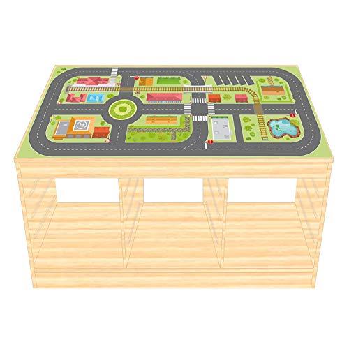 Spielfolie/Möbelfolie für IKEA TROFAST Holz Stadtleben Aufkleber Sticker Kinderzimmer Spieltisch (Möbel Nicht inklusive)
