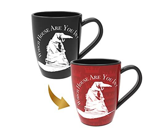 Harry Potter Tasse de sorting Hat Gryffondor Wizarding World - Cadeau officiel et objets de collection - Révèle la maison cachée de Poudlard - Changement de motif thermique - 1 pièce (1 pièce)