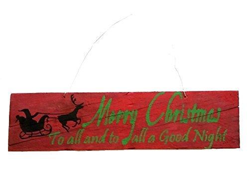 Norma Lily 11,4x 43,2cm Handgefertigt grün Weihnachten zu Allen mit Santa Schlitten und Rentier Silhouette auf Wirklich Aged Rot Washed Holz Schild