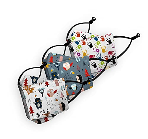 Rayna Decor Kid's Cotton Printed Breathable Face Mask 6 Layer Face Mask with Adjustable Earloops Without Valve - Pack of 3 (Multicolour, 3-6 Years)