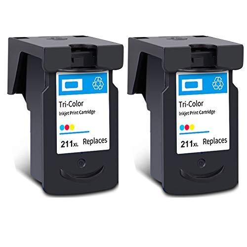 Cartucho de tinta PG-210XL CL-211XL, de alto rendimiento para cartuchos de tinta Canon Pixma IP2700, IP2702, MX320, MX330, MX410, MP230, MP480, negro y tricolor, 2 tricolor