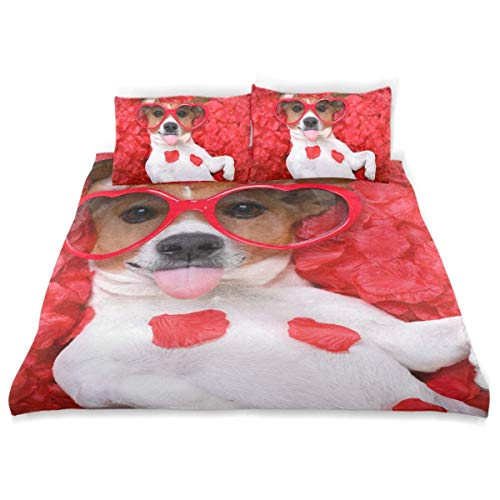 Duvet Cover Set Jack Russell Dog Sticking Out Tongue Decorative 3 Piece Bedding Set with 2 Pillow Shams