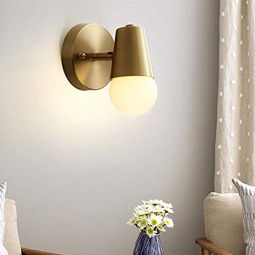 YINGGEXU Lámpara de pared nórdico de cobre lámpara moderna minimalista dormitorio mesita de noche salón balcón escalera baño espejo faros pasillo lámpara de pared decorativa oro 15x10cm delicado