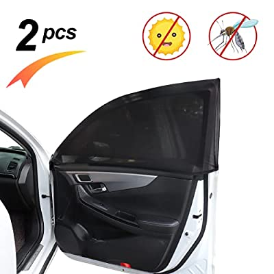 MOTOWELL 2 Pcs Car Window Shade for Baby Breathable Elastic Car Window Screen UV Protection Car Rear Side Window Sunshades up to 18-26