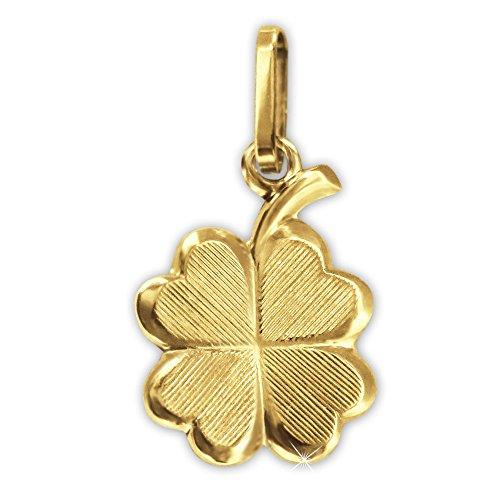 CLEVER SCHMUCK Goldener Kleiner Damen Anhänger 4-blättriges kleines Glückskleeblatt 13 mm mit Strichmuster matt und glänzend kombiniert 333 Gold 8 Karat