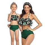 YUTRD ZCJUX Trajes de baño de Cintura Alta con Volantes Traje de baño Madre e Hija Bikinis New Beachwear Sexy Halter Bikini Set (Size : Adult Large)