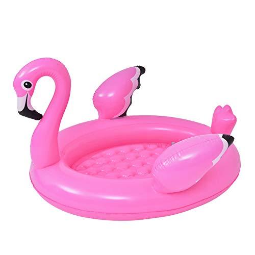 shangji Aufblasbarer Pool/Planschbecken Flamingo Schwimminsel Baby Badewanne Family Pool 108×95×65cm