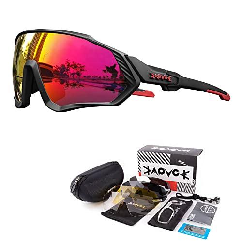 KAPVOE Gafas de Ciclismo Polarizadas con 5 Lentes Intercambiables para Hombres Mujeres Pantalla Completa TR90 Gafas de Sol Ligeras para Ciclismo Deportivo MTB 03