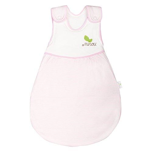 Minou Schlafsack Außenschlafsack Größe 98/104 Babyschlafsack 100% Bio Baumwolle Rosa Gestreift