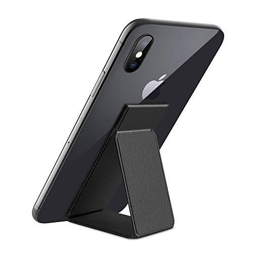 Winhoo für Leather Handy Halter Finger Handyhalterung Fingerhalter Universal Handy Fingerhalterung Ständer für iPhone X/XS/XS Max/8/8plus/7/7 Plus/6s,Huawei,Samsung & andere Smartphone - Schwarz