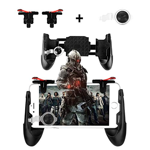 Newseego Mobile Game Controllers, Phone Triggers for Mobile Phone, Shooter Sensitive Controller Joysticks Gamepad for Knives Out/Rules of Survival(1 Pair Triggers + 3 in 1 Portable Gamepad)