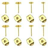 Toaab - 300 pares de pendientes de acero inoxidable con postes planos de 4 mm, 5 mm, 6 mm, 8 mm con dorados en forma de mariposa para accesorios de joyería, fabricación