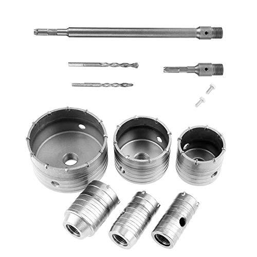 IREANJ Drill Chucks 10 Piece TCT Drill Bit Set Hole Saw Drill Bit Wall Drill Bits, 35mm, 40mm, 50mm, 65mm, 82mm, 110mm