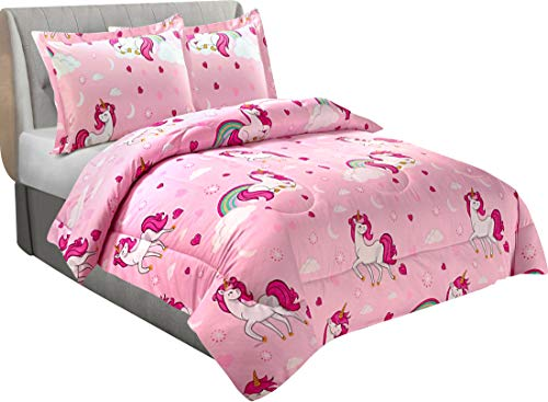 Utopia Bedding All Season Unicorn Comforter Set with 2 Pillow Cases - 3 Piece Soft Brushed Microfiber Kids Bedding Set for Boys/Girls – Machine Washable (Twin/Twin XL)
