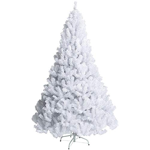 AGLKH White Christmas Tree Large, Artificial xmas Pine Trees with Metal Stand Easy Assembly Holiday Decoration,White 180cm