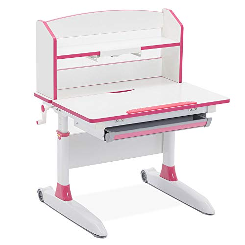 Ilogicase Kids Desk and Chair Set | Height Adjustable Children Chair and Table with Book Holder Stand and Drawer Storage | Ergonomic Desktop for Writing, Drawing and Painting | Home School (501 Pink)