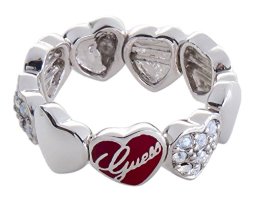 Guess - Anillo de acero inoxidable con circonita, talla 12 (16,56 mm)