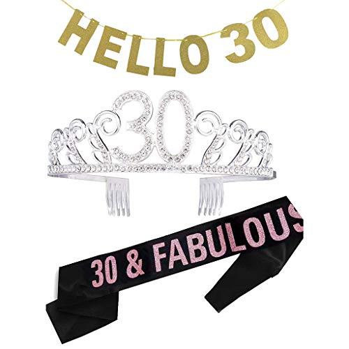 Amycute 30. Geburtstagsfeier Haarschmuck mit Schärpe Kristall Geburtstag Tiara Birthday Crown Prinzessin Geburtstag Krone Haar-Zusätze Silber für 30. Geburtstag, lustiges Geschenk,Party Deko.