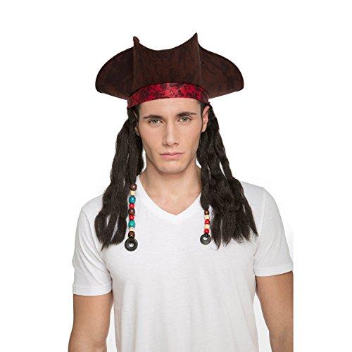 Sombrero pirata con peluca de trenzas.
