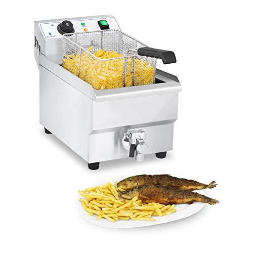 Royal Catering RCEF 10EH-1 Friggitrice Professionale Friggitrice Elettrica (3600 W, 230 V, 60-200 °C, 10 litri, 3 kg, Acciaio inox, Rubinetto di scarico)