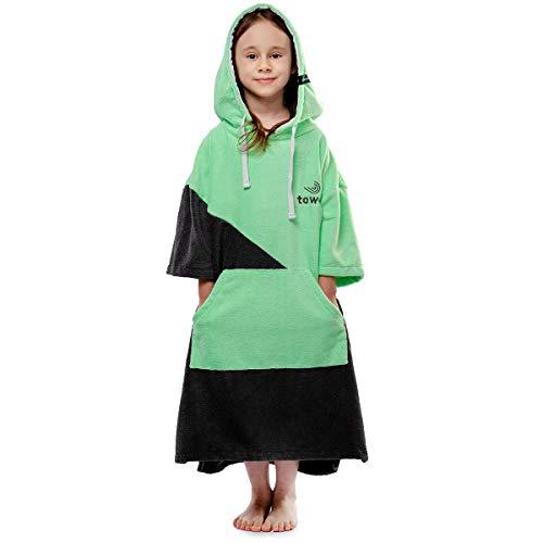 Towee Surf Poncho für Teenager, Bademäntel für Jungen mit Kapuze, 60 x 90 cm (Grün)