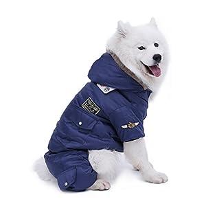 PAWZ Road Manteau d'hiver pour Chien avec Capuche et 4 Jambes, USA Air Force Veste Coupe-Vent Combinaison De Neige Hiver Vêtement pour Chien Chat
