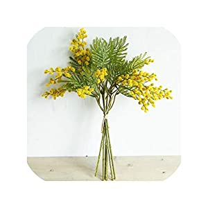 Artificial Flowers Mimosa Bouquet Fuzzy Simulation Planting DIY Wedding Home Decor Plant Wreaths Flowers,Yellow