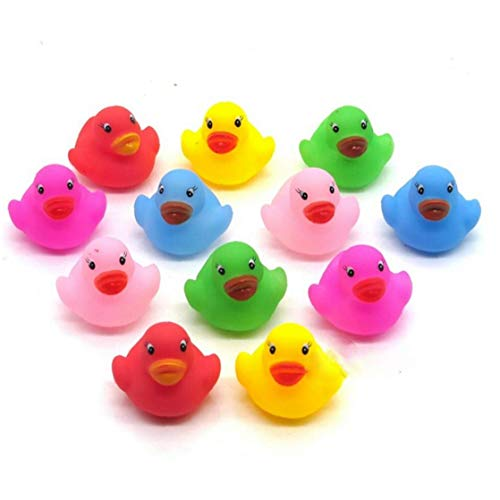 24pcs/ Mini Colorful Rubber Float Squeaky Sound Duck Bath Toy Bathroom Water Pool Funny Toys for Boys Gifts