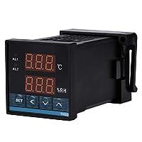 AC85〜265Vリレー出力サーモスタット付きデジタル温湿度コントローラーデジタルディスプレイ温湿度コントローラー-19.9℃〜80.0℃0.0〜99.9%RH