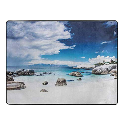 Landscape Area Rug Ocean Seascape Peaceful Beach with Rocks and Cloudy Sky Digital Print Rugs for Bedroom 6.5' x 9' White Blue and Grey