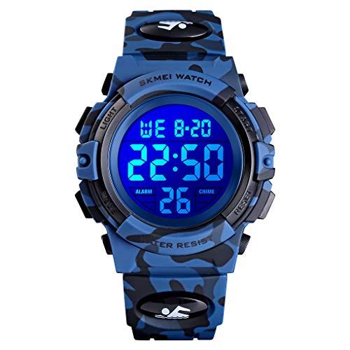 7-Color Kids Jongens Digitale Horloges, Waterdichte Outdoor Sport Digitale Horloges Analoge Horloge met Wekker/Timer/LED Licht, Elektronische Schokbestendige Polshorloge voor Tieners Kinderhorloges