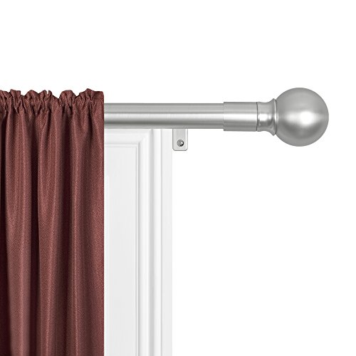 """MAYTEX Smart Rods No Measuring Easy Install 1"""" Window Drapery Curtain Rod with Ball Finial, 48 inch - 120 inch, Brushed Nickel"""