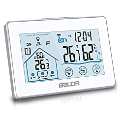BALDR Digital Weather Station, Wireless Indoor Outdoor Thermometer Hygrometer with LCD Backlight Touch Screen, Temperature & Humidity Comfort-Level Indicator with Remote Sensor (White)