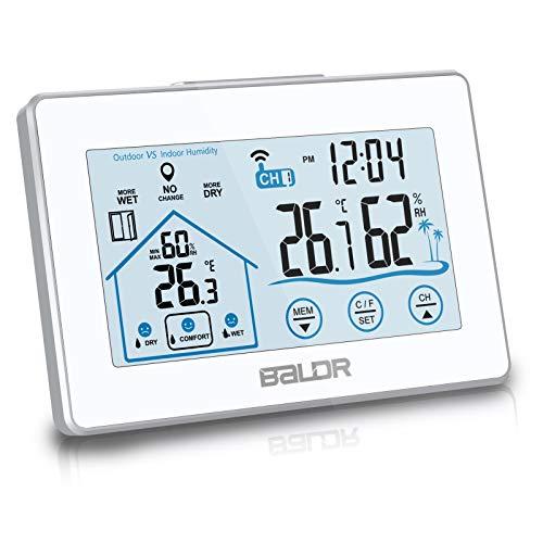 Baldr Estación meteorológica digital, termómetro higrómetro para interiores y exteriores inalámbrico con pantalla táctil LCD retroiluminada, indicador de nivel de temperatura y humedad con sensor remoto (blanco)