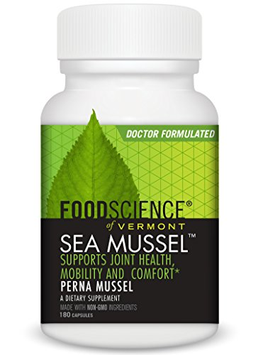 FoodScience of Vermont New Zealand Green Lipped Sea Mussel Supplement  180 Capsules - Supports Joint Health  Mobility and Comfort