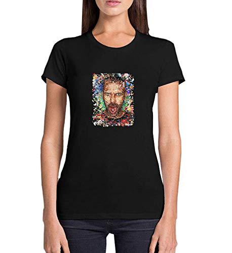 Dr. LSD House Drugs Pills_WZ6035 T Shirt Women Camiseta, 100% algodón, Camiseta gráfica, Verano, Casual, Verano, para Mujer, Navidad, Small, Black