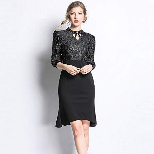 QUNLIANYI Ballkleid Lang Damen Tüll Jacquard Black Dress Frauen Mermaid Patchwork Kleider Formal...