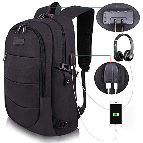 Tzowla Business Laptop Backpack Water Resistant Anti-theft College Backpack with USB Charging Port