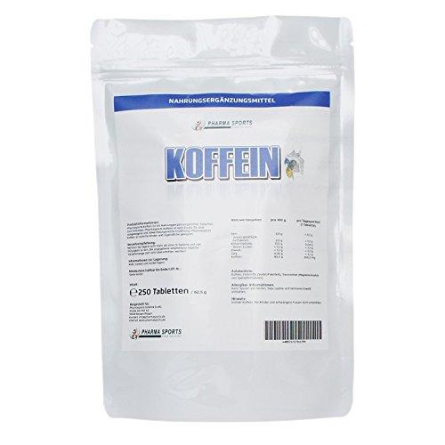 Koffein Tabletten (200 mg Koffein 1,3,7-Trimethylxanthine) - hochdosiert - Made in Germany - 250 Tabletten