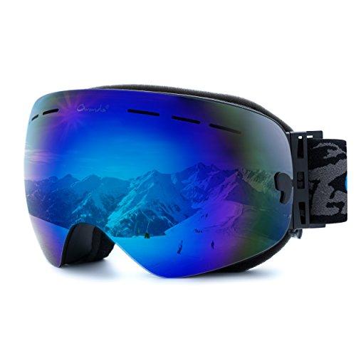 Ommda Skibrille brillenträger Herren Anti-Beschlag Snowboardbrille OTG Mit Große Sphärische Lenses Doppel-Objektiv UV400,Blau