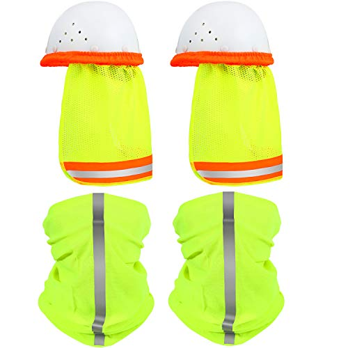 2 Pieces Hard Hat Sun Shade Neck Shield Full Brim Mesh Sun Shade Protection with Safety High Visibility Reflective Stripe and 2 Pieces Multifunctional Headband (Fluorescent Green)