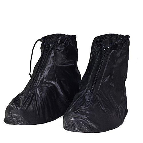HSEAMALL Regenüberschuhe,Schuhüberzieher Wasserdicht Schuhe Überschuhe, Outdoor Rutschfester Schuhüberzieher Regenschutz Motorrad, Schwarz, 42/43 EU (Herstellergröße XXL)