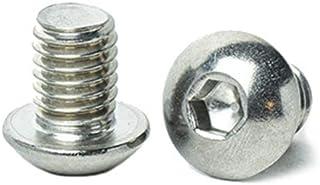 "3/8-16 x 1/2"" Button Head Socket Cap Screws, Allen Socket Drive, Stainless Steel 18-8, Full Thread, Bright Finish, Machine Thread, Quantity 10 by Bridge Fasteners"