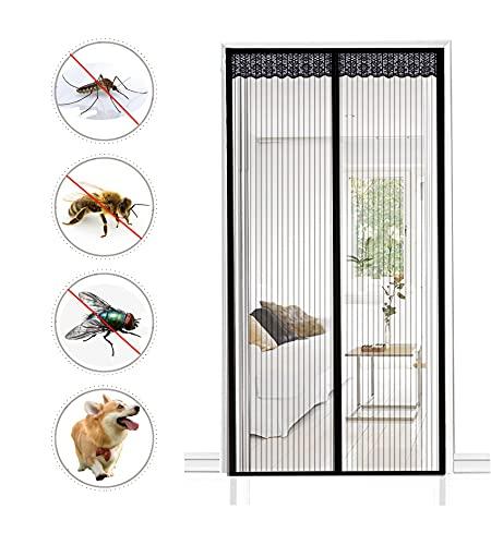 Magnet Fliegengitter Tür Insektenschutz, Magnetischer Vorhang Fliegenvorhang, Moskitonetz für Balkontür Wohnzimmer Terrassentür,Klebmontage ohne Bohren(Schwarz) (90X210cm(35X82inch))